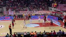 Dimitrios Agravanis (Olympiacos) blocks shot