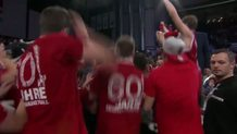 Brose Bamberg's players celebrate the club's first ever win in the Top16!!