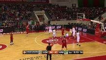 Anthony Randolph, acrobatic three-point play.