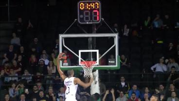 Anthony Randolph jab steps and DRIVES for the HAMMER!