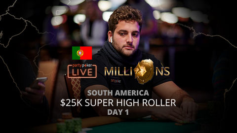 PARTYPOKER MILLIONS SOUTH AMERICA 2020 | $25K SUPER HIGH ROLLER | DAY 1 (PORTUGUESE)